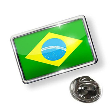 Metal Brazil Flag Safety Pin Dengan Butterfly Clutch