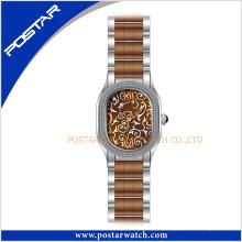 Montre de quartz de montre d'acier inoxydable de mode multicolore dans l'électrodéposition de Brown d'IP