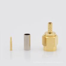 SMA Gold Plated Straight Crimp Male (Plug) para cable RG174 RG178 RG316