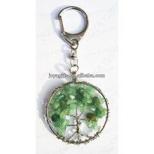 Aventurine chaveiro de forma redonda de pedra preciosa, keyrings pingente de pedra preciosa, pedra chave-afortunada chaveiro