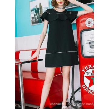 Black& White Falbala Sample Lovely Youth Dress