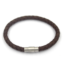 Подгонянные Simlple застежки металла заплетенные кожаный браслет