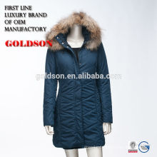 Russian Ourdoor Cotton Long Coat With Luxury Raccoon Fur on Hood