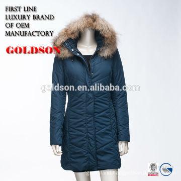 Russian Ourdoor Cotton Long Coat With Luxury Raccoon Fur on Hood