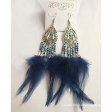 Blue Feather Earrings with Metal
