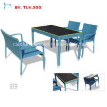 Rattan Garden Furniture Blue Rattan Color Table Dining Sets