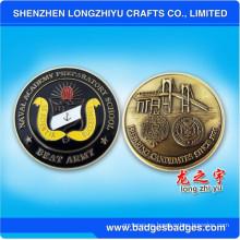 El puente redondo del esmalte grabó en relieve la moneda del metal para la promoción