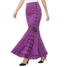 Belle Poque Women Vintage Retro Victorian Style High Stretchy Ruffled Fishtail Mermaid Long Skirt Women Sexy Skirts BP000204-4