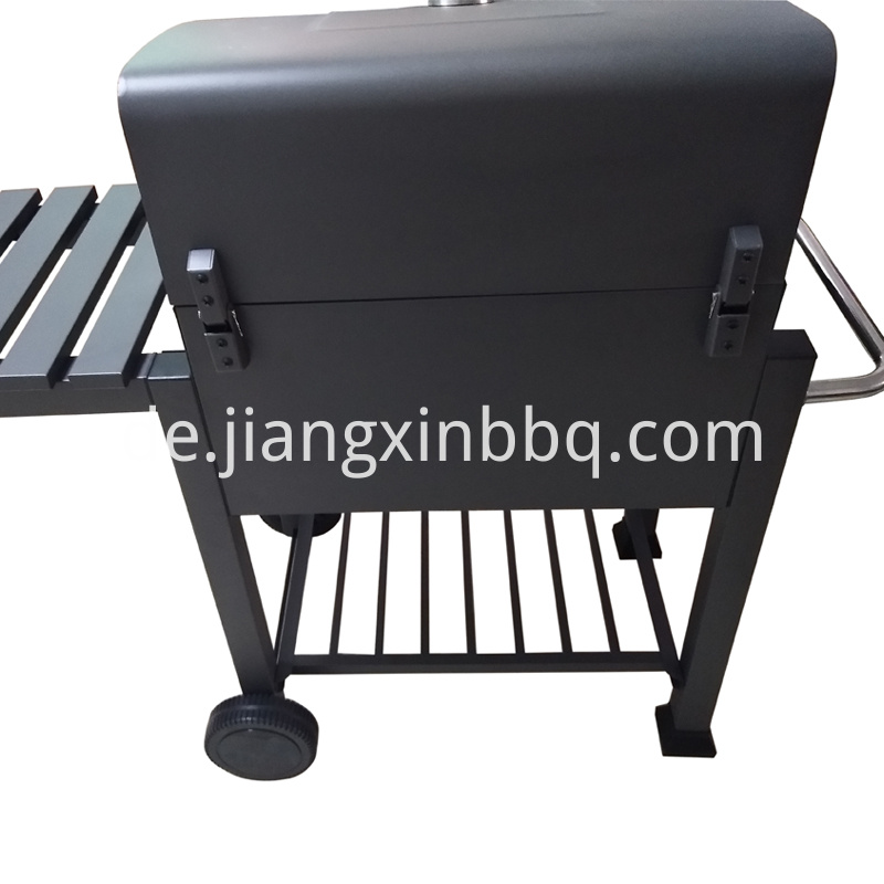 Smoker Charcoal Grill with Trolley Back View