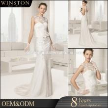2016 China Dress Manufacturer sash sleeveless chapel train bridesmaid mermaid wedding dress.