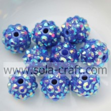 Online Sale Resin Rhinestone Beads Solid With Blue AB Shinning Beads 10*12MM