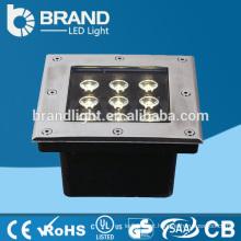 IP65 9X1W 4in1 LED Chips RGBW Praça LED Underground Light com DMX512 Modo