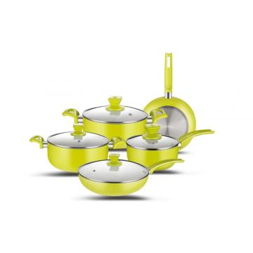 9pcs Keramik Set Aluminium Cookware Set