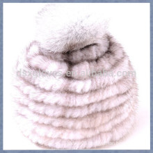 Grey Red Mink Fur Cap With One Solid Spheres