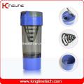 Garrafa protetora de proteína plastificada 600ml com filtro e recipientes (KL-7008)
