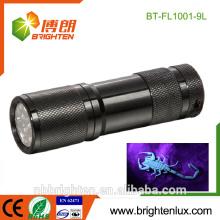 Alimentation en usine à main Matériel en aluminium 3 * AAA Batterie Haute qualité UV Blacklight 385nm Scorpion Hunter 9 Led uv lampe de poche