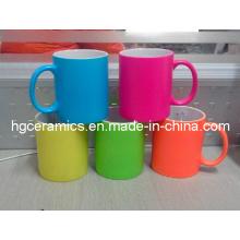 Leuchtstoff-Keramik-Becher, Neon-Farbtasse, Neon-Becher