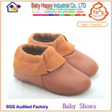 MOQ 52 baby moccasin оптовая мягкая подошва кожаная детская обувь