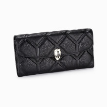 2021 whole leather snake metal button embossed wallet