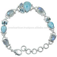 Larimar Rainbow Moonstone & Blue Topaz with 925 Silver Chain Link Bracelet