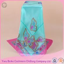 2017 nouveau design papillon imprimé soie foulard satin hijab