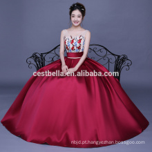 Vinho Red Ball Gown Sweetheart Beaded Flower Appliqued Quinceanera Vestidos Vestidos