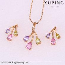 62082-Xuping 18K chapado en oro mujer colorida de latón conjunto de joyas