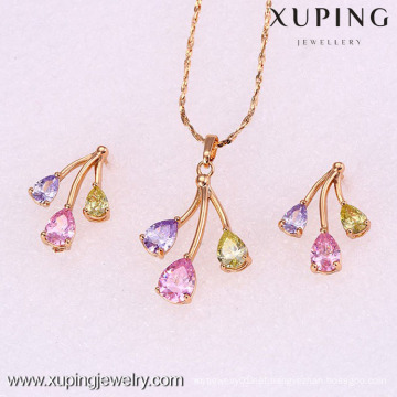 62082-Xuping 18K Gold Plated Colorful Woman Brass Jewelry Set