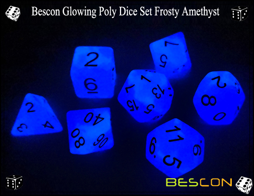 Bescon Glowing Poly Dice Set Frosty Amethyst-8