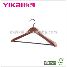 Brown Color Wooden Coat Hanger With Notches and PVC Tube