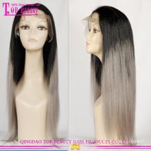Fabrik Direktversorgung Ombre Perücken mit grauem Haar Großhandel graue Haare Spitze Perücke grau heißer Verkauf Echthaarperücken
