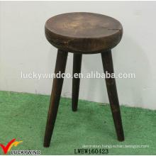 Wholesale Distressed Round Wood 3 Legged Stool