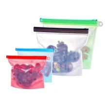 Airtight silicone food storage pouch stasher zip bag