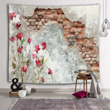 Broken Wall Wall Tapestry Red Flower Countryside Tapestry Wall Hanging for Livingroom Bedroom Dorm Home Decor