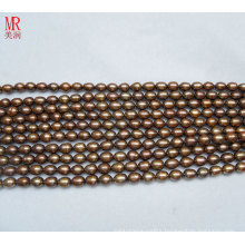 7-8mm Rice Shape Chocolate Color Freshwater Pearl Strand (ES187)