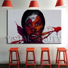 Impresión abstracta de la pintura del retrato de la mujer en lona