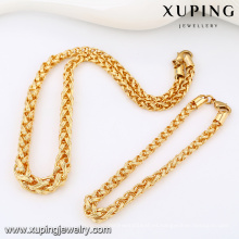 63813-Xuping Alibaba Nuevo Trendy Copper Gold Men Chain Jewelry Set