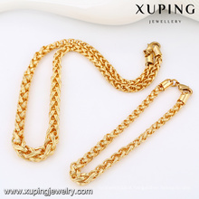 63813-Xuping Alibaba New Trendy Copper Gold Men Chain Jewelry Set