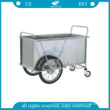 AG-SS025 Con dos ruedas grandes hospital metal marco lavadero carretilla de acero