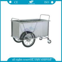 AG-SS025 Avec deux grandes roues hôpital cadre en métal instrument à linge chariot en acier