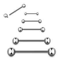 High Polished Titanium Internally Thread Plain Flat Ball  Nipple Ring