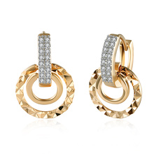 Fashion Zircon Earring Champagne Platinum Plated Hot Round Earrings