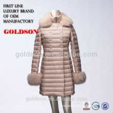 latest Fashionable design women long pink down winter coats with fox fur