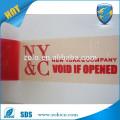 Impressão de tamanho personalizado aberto Letra VOID se removido Fibra adesiva de segurança dupla face