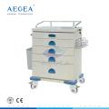 Precio de AG-AT020 para el carro de la carretilla del hospital del choque de emergencia dos con los frenos cruzados