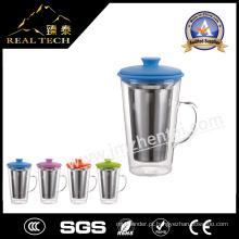 Copo de chá de vidro com alça