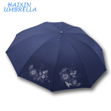 Regalo promocional barato al por mayor abierto manual de alta calidad de Unbrella Regalo hermoso del paraguas 3 plegable para señora hecha en China