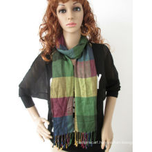Yarn dyed plain viscose pashmina shawl