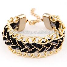 Bracelet tressé en chaîne en alliage de tempérament exagéré noir pour femmes