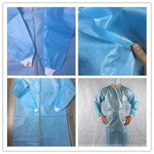 25gsm PP non tissé robe d'isolation jetable manchette tricotée
